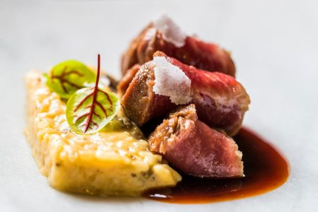 Quesos El Pastor - Iberian pork with rosemary salt with risotto of old pecorino cheese, morels and prieto picido